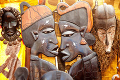 African handcraft wood carved profile faces Royalty Free Stock Images