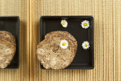 African handmade black soap with flowers Royalty Free Stock Photography