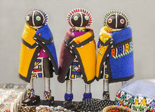 African handmade rag dolls. Colorful beads, fabrics clothes. Royalty Free Stock Image
