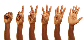 African hands showing numbers with fingers Stock Photography