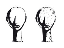 African head sculpture. Vector illustration of ancient African stone sculpture vector illustration