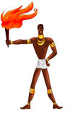 African man torch character cartoon style  illustration wh Royalty Free Stock Photos