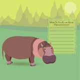 African Hippopotamus. An Hippopotamus Against Symplistic Nature Background and Poster with Space for Interesting Facts about this Animal. Educational Card for Stock Photography
