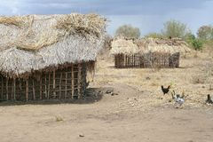 African home. Mudhuts in central Tanzanai stock images