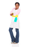 African housewife cleaning liquid Royalty Free Stock Image