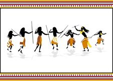 African hunters. Tribal dance background Stock Photography