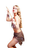 African huntress. Shot of an girl holding african spear. Shot in studio. Isolated with clipping path stock photography