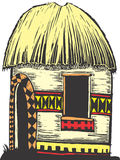 African Hut. With straw roof and decorated sides royalty free illustration