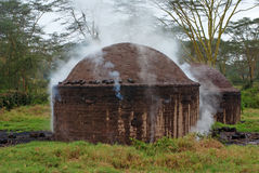 African hut for the production of charcoal Stock Photography