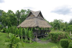 African hut, tropical hut in the nature stock photo
