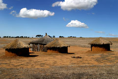 African huts. On a South African reserve Stock Photography