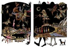 African illustration, people, feet and animals. Exotic raster illustration over a black and white background Stock Images