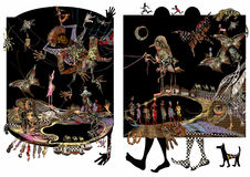 African illustration, people, feet and animals, exotic. Raster illustration over a black and white background Royalty Free Stock Photos