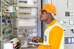 African industrial electrician Royalty Free Stock Images
