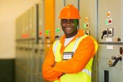 African industrial technician stock photo