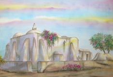 African-Islamic Mosque. Digitally photographed image of an original watercolor (on 100% cotton & hand made paper), about the Houmt-Souq Islamic Mosque, located Stock Photos