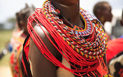African jewellery. On a woman from the Samburu tribe Kenya Africa Royalty Free Stock Photo
