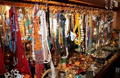 African Jewellery. A wall of beaded necklaces and bracelets on display in a market in Woodstock, Cape Town, South Africa stock photos