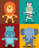 African Jungle Animals. Including Lion, Zebra, Hippopotamus & Elephant Stock Images