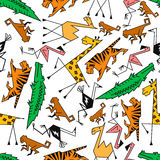 African and jungle cartoon safari animals Royalty Free Stock Images