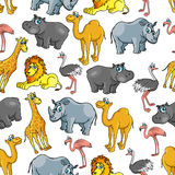 African jungle and safari animals cartoon pattern Royalty Free Stock Image