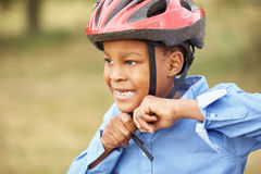 African kid with helmet Royalty Free Stock Images