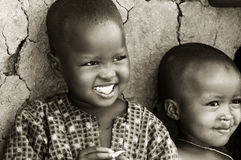 African kids. Portrait of African kids smiling. Editorial use only stock image