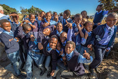 African kids. Blyde River Canyon Nature Reserve, South Africa - August 22, 2014: South African kids posing in school uniform stock images