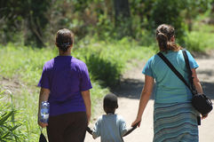 African Kids - Malawi. African Kid Walking with Tourists stock images