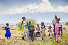 African Kids of Masai  tribe village. Tanzania. Royalty Free Stock Photos