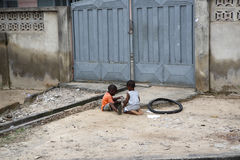 African kids play outside stock photo