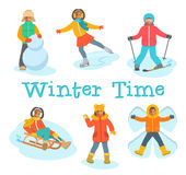 African kids play snow winter outdoor games Stock Image