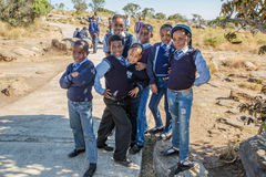 African kids. South African boys and girls kids posing in school uniform royalty free stock photos