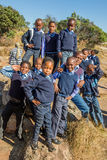African kids. South African boys and girls kids posing in school uniform smiling royalty free stock image