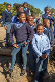 African kids. South African smiling boys and girls kids posing in school uniform royalty free stock photo
