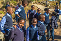 African kids. South African smiling boys and girls kids posing in school uniform stock photo
