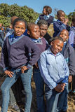 African kids. South African boys and smiling girls kids posing in school uniform royalty free stock photography