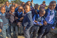 African kids. South African boys and girls kids posing in school uniform royalty free stock photography