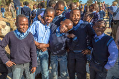 African kids. South African smiling kids posing in school uniform royalty free stock images