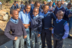 African kids. South African smiling kids posing in school uniform royalty free stock photo