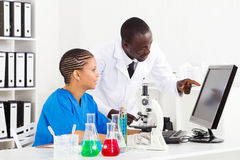 African lab technicians. Two african american medical lab technicians working in lab Stock Photos