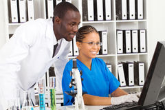African lab workers. Two african american medical lab workers working in lab Royalty Free Stock Photo