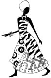 African lady. Stylized black and white african woman illustration Royalty Free Stock Photo