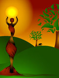 African lady holding the sun. Colourful illustration of a beautiful woman holding a bright african sun with trees and elephant in the background Royalty Free Stock Photos