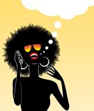 African lady talking on a cell phone. Illustration of african lady talking on a cell phone and lauthing Stock Image