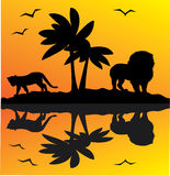 African landscape. With animals and reflection Royalty Free Stock Photo