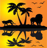 African landscape. With different african animals Stock Photos