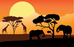 African landscape. Illustration of african lnadscape with elephants and giraffes Royalty Free Stock Photo