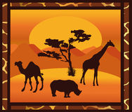 African landscape. Animals palm tree Royalty Free Stock Image
