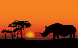 African landscape with animal silhouette. Savanna sunset background. royalty free illustration